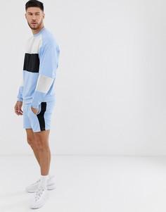 Светло-синий спортивный oversize-костюм с облегающими шортами и сетчатыми вставками ASOS DESIGN - Белый