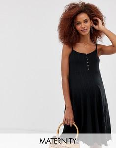 Черное платье миди в рубчик на пуговицах New Look Maternity - Черный