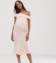 Фактурное платье миди с открытыми плечами ASOS DESIGN Maternity - Розовый