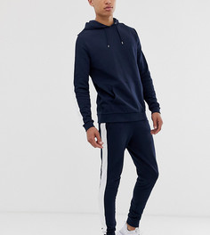 Темно-синий спортивный костюм с худи и полосой по бокам ASOS DESIGN Tall - Темно-синий