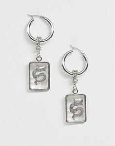 Серебристые серьги с подвеской в виде дракона ASOS DESIGN - Серебряный