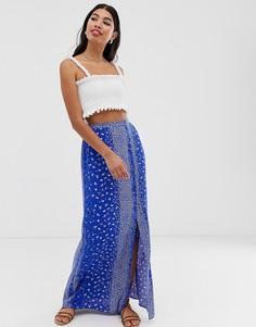 Синяя юбка макси с принтом ASOS DESIGN - Мульти