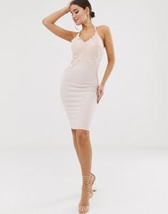 Розовое облегающее платье с глубоким вырезом Lipsy - Розовый