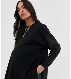 Черный oversize-лонгслив ASOS DESIGN Maternity - Черный