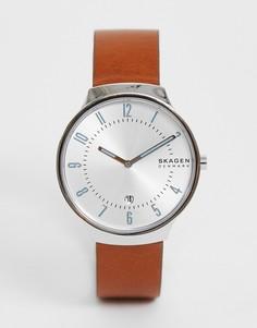 Часы с узким кожаным ремешком Skagen SKW6522 Grenen - Рыжий