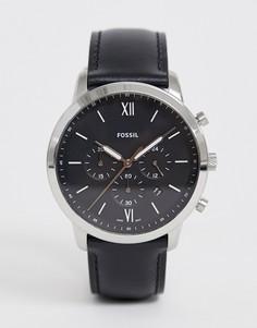 Часы с хронографом и с кожаным ремешком Fossil - FS5452 Neutra - Черный