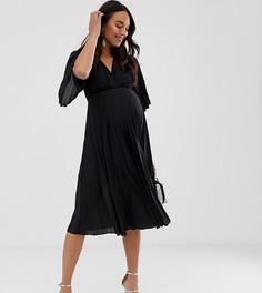 Плиссированное платье миди в стиле кимоно ASOS DESIGN Maternity - Черный