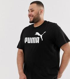 Черная футболка с большим логотипом Puma - PLUS Essentials - Черный