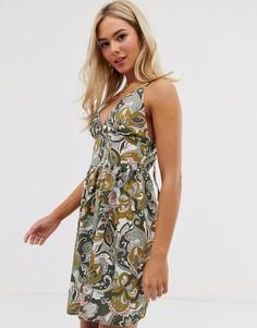 Платье мини с цветочным принтом Love - Зеленый