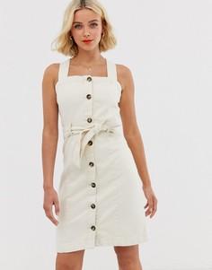 Джинсовое платье мини с пуговицами Pieces - Бежевый