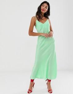 Зеленое платье-комбинация макси Miss Selfridge - Зеленый