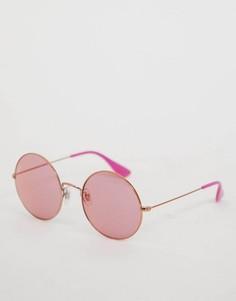 Розовые солнцезащитные очки в круглой оправе Ray Ban - Розовый
