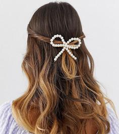 Заколка-бантик для волос из искусственного жемчуга DesignB London - Белый