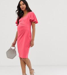 Коралловое трикотажное платье миди с запахом и короткими рукавами Blume Maternity - Розовый