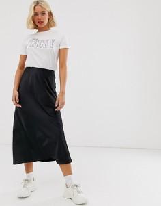 Черная атласная юбка миди New Look - Черный
