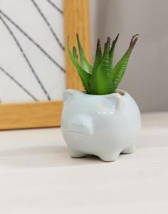 Небольшой горшок для цветов с дизайном в виде поросенка и с искусственным растением Candlelight - Синий