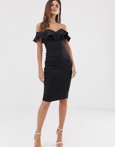 Черное облегающее платье с вырезом сердечком и оборкой Vesper - Черный