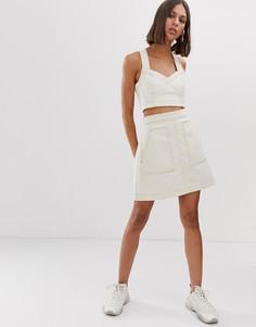 Светло-бежевая джинсовая юбка-трапеция Weekday - Кремовый