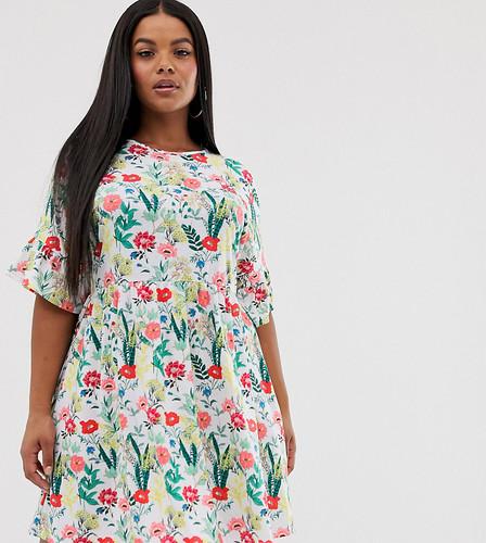 Эксклюзивное свободное платье с цветочным принтом Boohoo Plus - Мульти