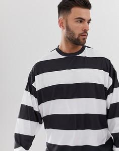 Oversize-футболка в полоску с длинными рукавами ASOS DESIGN - Белый