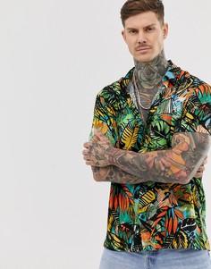 Рубашка с короткими рукавами и разноцветным лиственным принтом Bershka - Мульти