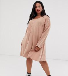 Свободное платье мини на пуговицах ASOS DESIGN Curve - Розовый