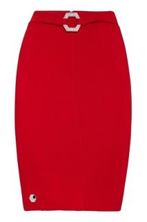 Красная юбка с пряжкой Philipp Plein