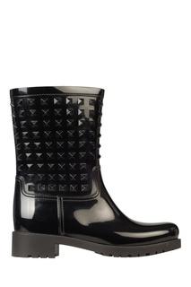 Черные резиновые сапоги с отделкой Valentino