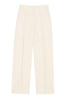 Широкие светлые брюки в полоску Sandro
