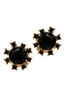 Серьги-гвоздики с черными кристаллами Exclaim