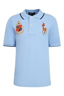 Голубое поло с отделкой Polo Ralph Lauren Kids
