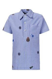 Синее поло в полоску с вышивкой Polo Ralph Lauren Kids