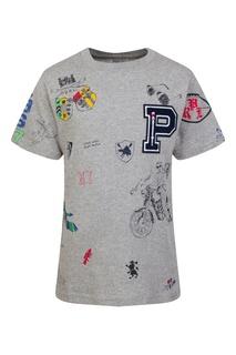 Серая футболка с принтом Polo Ralph Lauren Kids