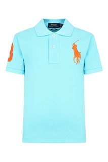 Голубое поло с вышивкой Polo Ralph Lauren Kids
