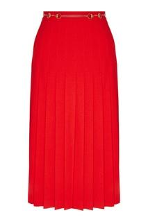 Красная плиссированная юбка с поясом Gucci