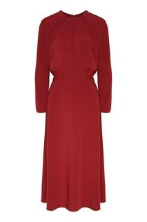 Бордовое платье с разрезом на спине Laroom