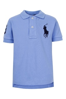 Голубое поло с контрастной вышивкой Polo Ralph Lauren Kids