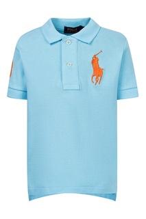 Голубое поло с цифрой Polo Ralph Lauren Kids