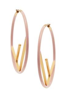 Золотисто-розовые серьги F is Fendi