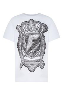Белая футболка с принтом Fw Dlab