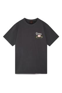 Черная футболка с надписью и принтом Deus