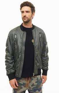 Куртка-бомбер цвета хаки с карманами Diesel