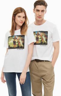 Белая футболка из хлопка с принтом Flashin