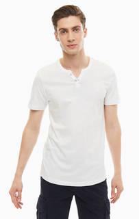 Белая хлопковая футболка с пуговицами Tom Tailor Denim