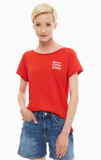 Красная хлопковая футболка свободного кроя Marc O'Polo Denim