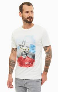 Хлопковая футболка с декоративным принтом Jack & Jones