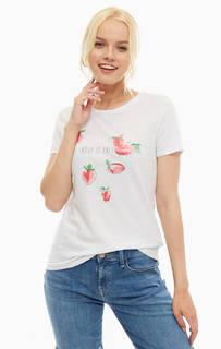 Белая хлопковая футболка с ярким принтом Mavi