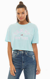 Укороченная футболка оверсайз с принтом Tommy Jeans