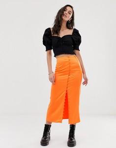 Атласная юбка макси на пуговицах ASOS DESIGN city - Оранжевый