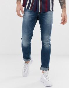 Выбеленные узкие джинсы с состаренной отделкой Jack & Jones Intelligence - Синий